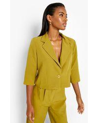 Boohoo Cropped Half Sleeve Tailored Blazer - Green