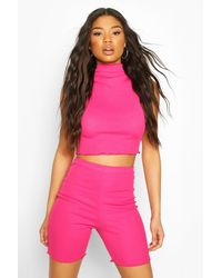 Boohoo Womens Neon Lettuce Hem High Neck Top - Pink