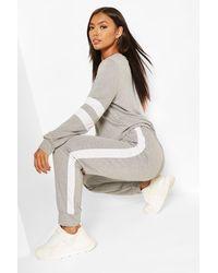 Boohoo Stripe Detail Lounge Set - Grey