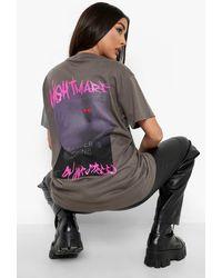 Boohoo Halloween Back Print Oversized T-shirt - Gray