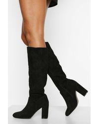 Boohoo Block Heel Knee High Boots - Black