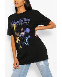 Boohoo Tall Purple Rain Oversized Licensed T-shirt - Black