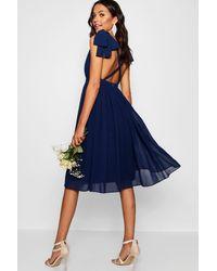 Boohoo Chiffon Pleated Midi Skater Bridesmaid Dress - Blue