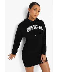 Boohoo Printed Corset Hoodie Dress - Negro