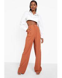 Boohoo Straight Leg Tailored Cargo Trouser - Brown