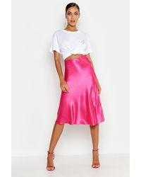 Boohoo Satin Bias Cut Slip Midi Skirt - Pink