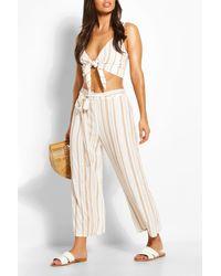 Boohoo Tonal Stripe Tie Waist Linen Look Beach Trousers - White
