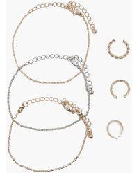 Boohoo - Rosie Delicate Bracelet And Ring 6 Pack - Lyst