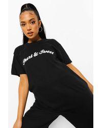 Boohoo Petite Short And Sweet Slogan T-shirt - Black