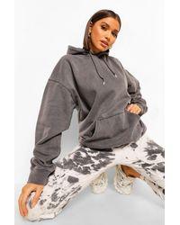 Boohoo Oversized Washed Hoodie - Grey