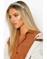 Boohoo Womens Haarband mit Perle und Bouclé - Schwarz