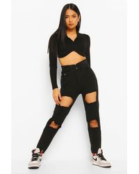 Boohoo Petite Ruched Waist Distressed Mom Jeans - Noir