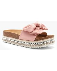 Boohoo Bow Detail Cleated Flatforms - Pink