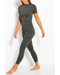 Boohoo Basic T-shirt & Legging Soft Jersey Pj Set - Gray