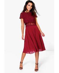 Boohoo - Lace Top Chiffon Skater Dress - Lyst