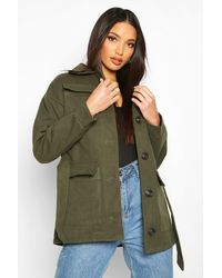 Boohoo - Double Pocket Wool Look Utility Jacket - Lyst