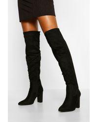 Boohoo Block Heel Thigh High Boots - Black