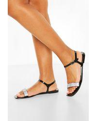 Boohoo Diamante Strap Square Toe Jelly Sandals - Black
