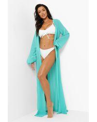 Boohoo Belted Maxi Beach Kimono - Blue