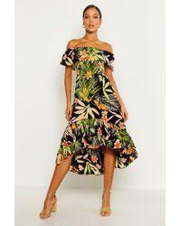 Boohoo - Palm Print Off The Shoulder Skater Dress - Lyst