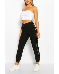 Boohoo Womens Piping Detail Jogger - Schwarz
