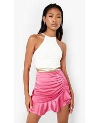 Boohoo Woven Frill Hem Ruched Detail Mini Skirt - Pink