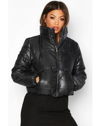 Boohoo Funnel Neck Puffer Jacket - Black