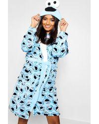Boohoo - Cookie Monster Hooded Dressing Gown - Lyst