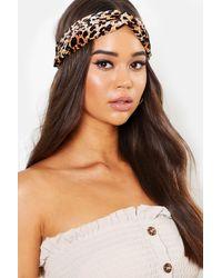 Boohoo Leopard Print Twist Knot Headband - Brown