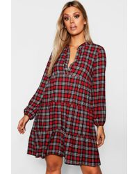 a954b02bd1de Boohoo Tartan Print Belted Wrap Midi Dress in Red - Lyst