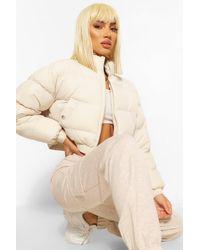 Boohoo Crop Puffer Jacket - Natural
