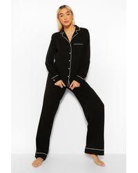 Boohoo Jersey Button Pj Long Sleeve Trouser Set - Black