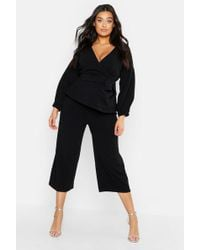Boohoo - Plus Wrap Top & Tapered Trousers Co-ord - Lyst