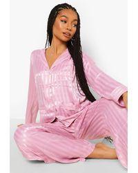 Boohoo Jaquard Stripe Satin Pyjamas - Pink