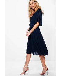 Boohoo Chiffon Angel Sleeve Midi Skater Bridesmaid Dress - Blue