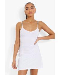 Boohoo - Strappy V Neck Backless Slip Dress - Lyst