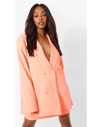 Boohoo Neon Oversized Double Breasted Blazer - Arancione