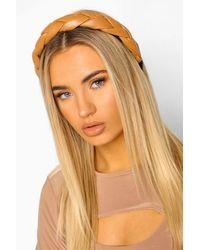 Boohoo Pu Plaited Headband - Natural