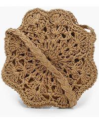 Boohoo Hexagon Shaped Straw Bag - Brown