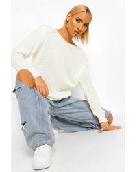 Boohoo Womens Pullover Mit Schulterpolster - Weiß