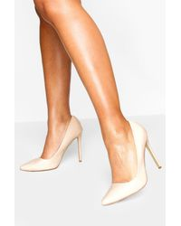 Boohoo High Heel Pointed Court Shoes - Natural