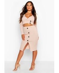 Boohoo - Womens Petite Button Down Skirt & Top Co-ord - Beige - 0 - Lyst