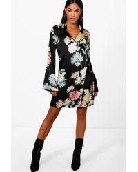 Boohoo - Megan Premium Oriental Floral Wrap Kimono Dress - Lyst