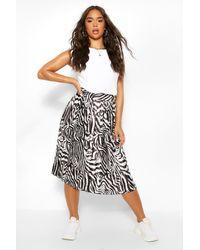 Boohoo Zebra Print Pleated Woven Floaty Skirt - Black