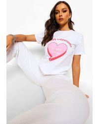 Boohoo T-shirt con slogan San Valentino Tall - Bianco