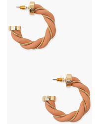 Boohoo Twist Chain Fabric Hoops - Rosa