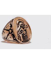 Boohoo Oval Figure Embossed Signet Ring - Metallic