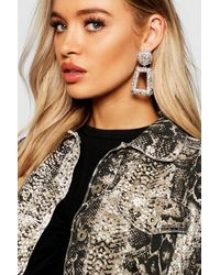 Boohoo Womens Strukturierte, Auffallende Ohrringe Oversized - Grau
