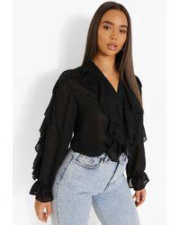 Boohoo Blusa De Chifón Texturizada Con Volante - Negro