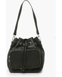 Boohoo Pocket Front Bucket Bag - Black